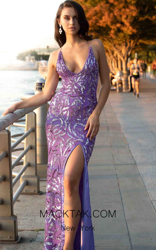 Primavera Couture 3419 Lilac Front Dress