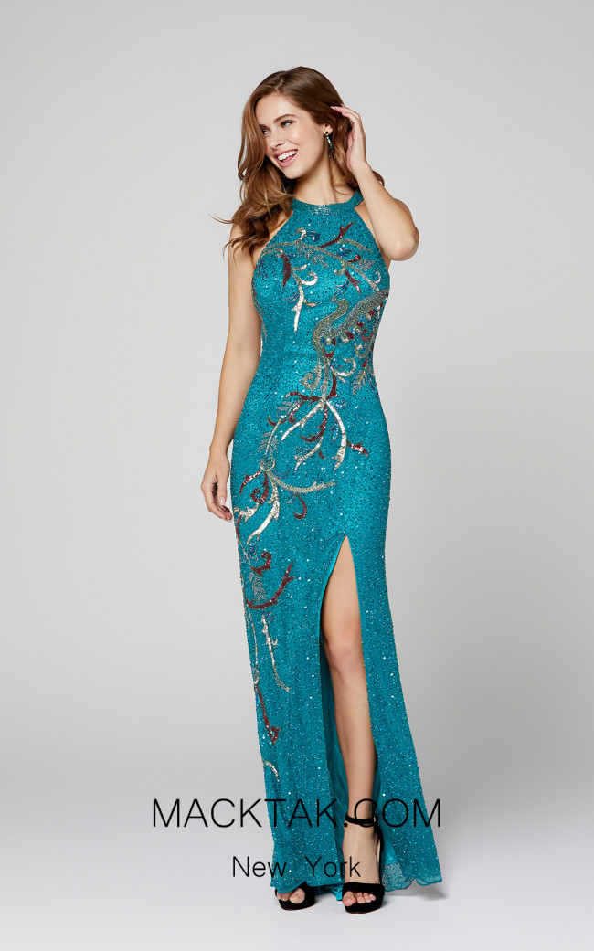 Primavera Couture 3420 Teal Front Dress