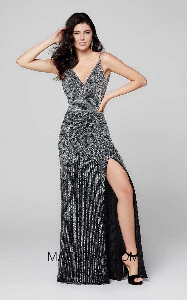 Primavera Couture 3422 Black Silver Front Dress