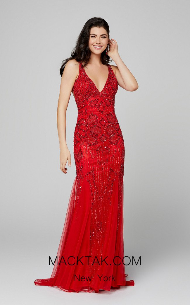 Primavera Couture 3423 Red Front Dress