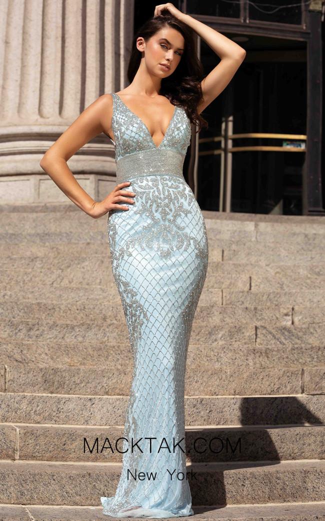 Primavera Couture 3425 Power Blue Front Dress