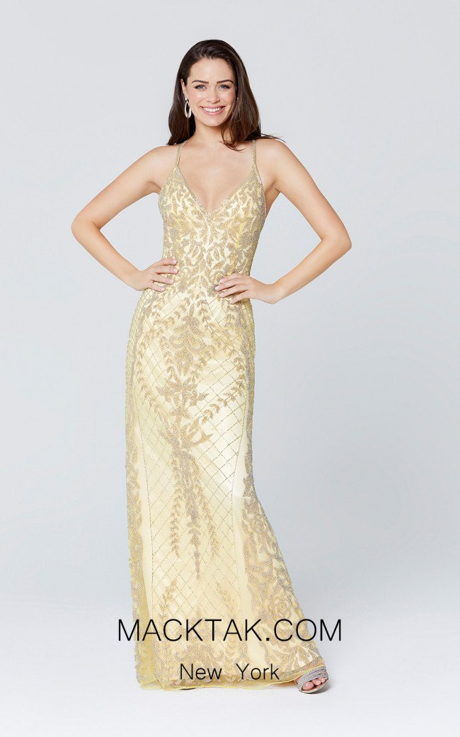 Primavera Couture 3428 Yellow Front Dress
