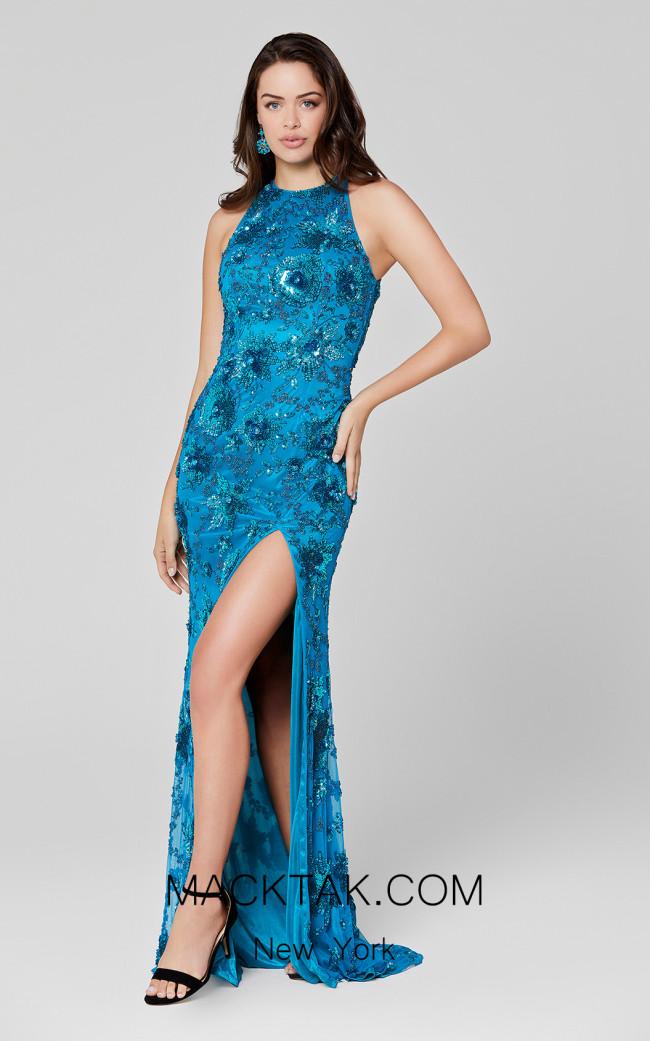 Primavera Couture 3432 Peacock Front Dress