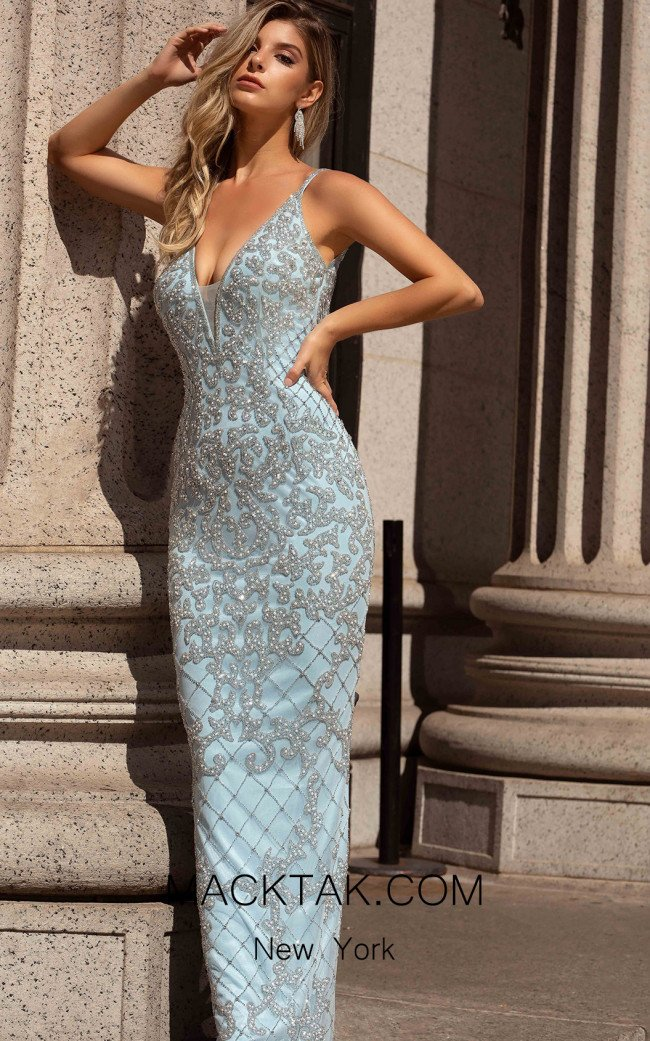 Primavera Couture 3433 Power Blue Front Dress