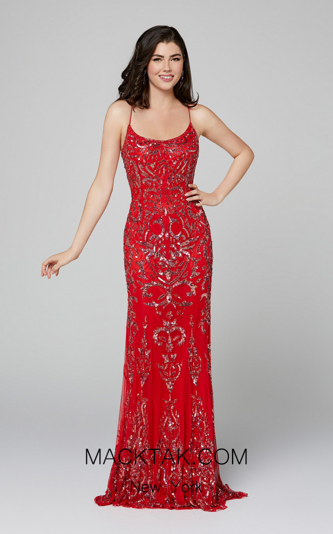 Primavera Couture 3435 Red Front Dress