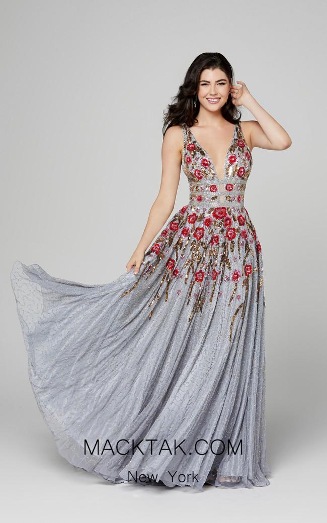 Primavera Couture 3437 Platinum Multi Front Dress