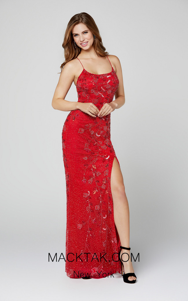Primavera Couture 3451 Red Front Dress