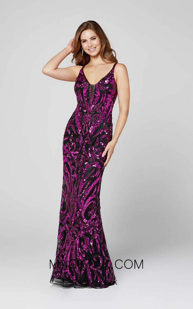 Primavera Couture 3454 Black Magenta Front Dress