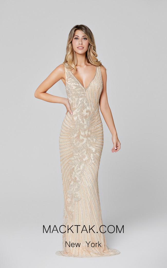 Primavera Couture 3456 Nude Silver Front Dress