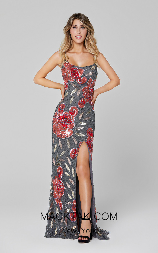 Primavera Couture 3463 Charcoal Front Dress