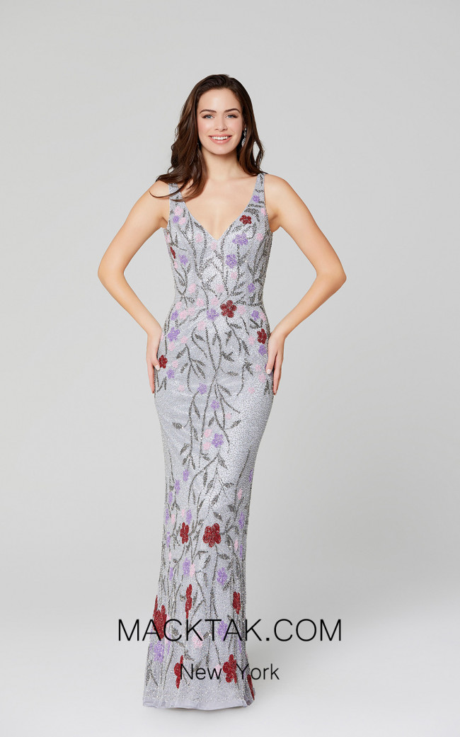 Primavera Couture 3464 Platinum Multi Front Dress
