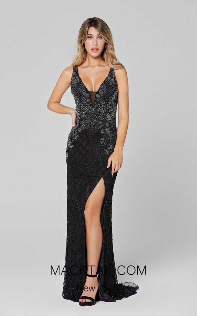 Primavera Couture 3466 Black Front Dress