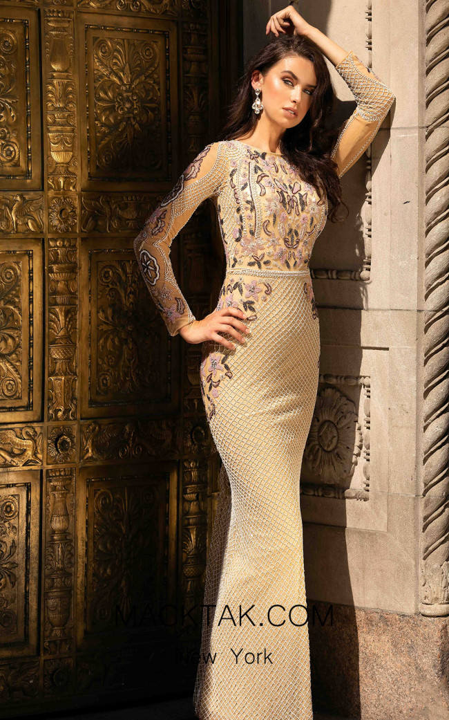 Primavera Couture 3481 Beige Front Dress