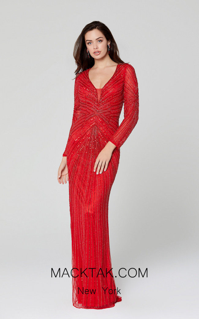 Primavera Couture 3487 Red Front Dress