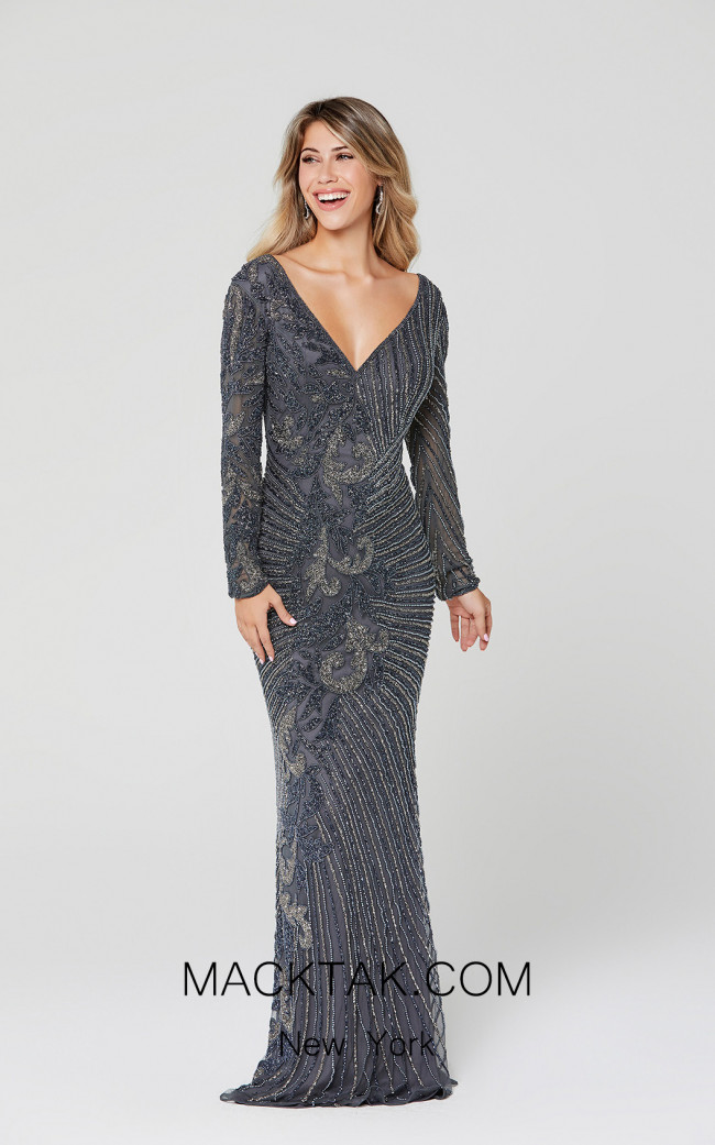 Primavera Couture 3492 Charcoal Front Dress