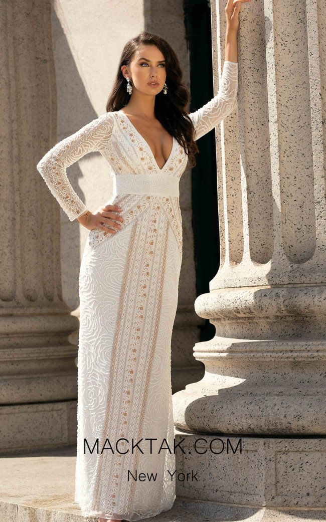 Primavera Couture 3494 White Front Dress