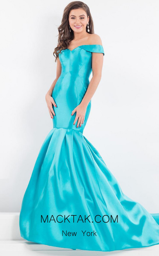 Rachel Allan 5977 Turquoise Front Evening Dress