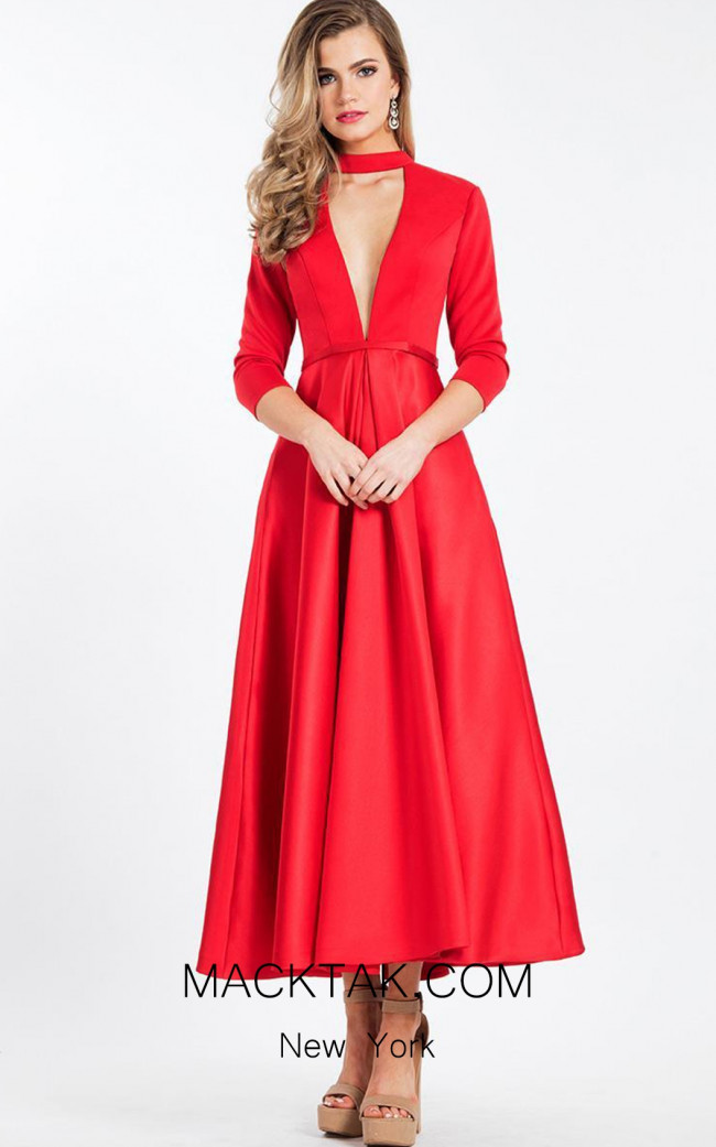 Rachel Allan L1111 Red Front Evening Dress