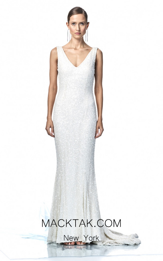 Rachel Gilbert RG60378 Ivory Front Evening Dress