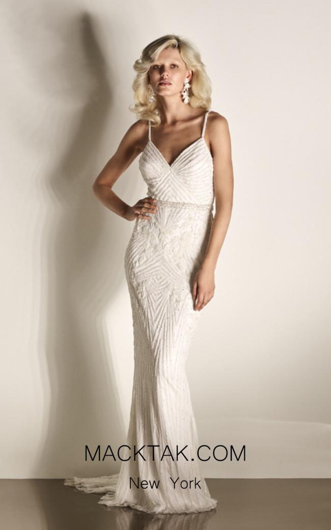 Rachel Gilbert RG60428 Ivory Front Evening Dress