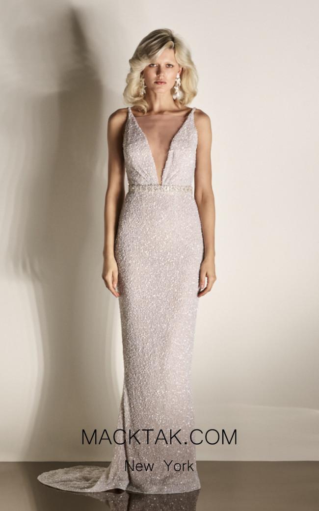 Rachel Gilbert RG60432 Ivory Front Evening Dress