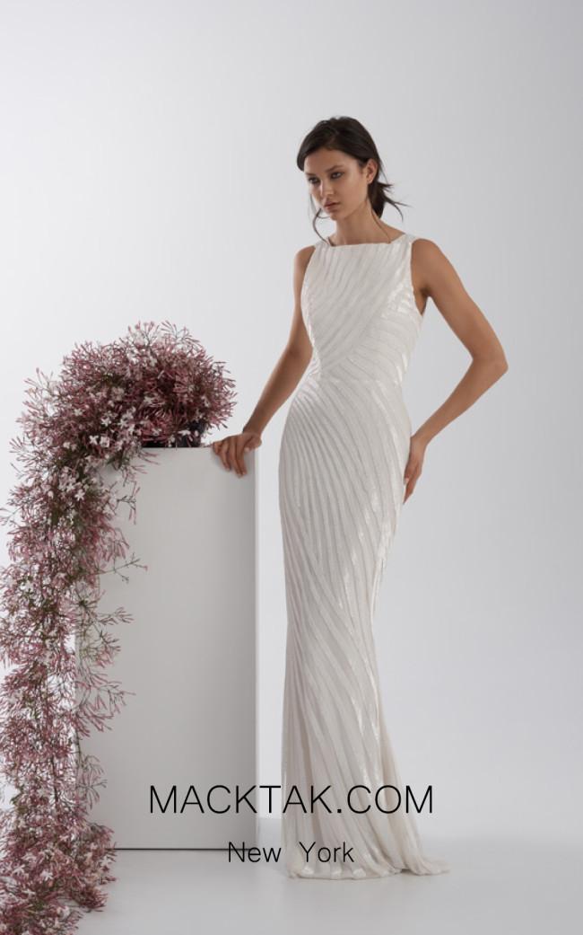 Rachel Gilbert RG60559 Ivory Front Evening Dress