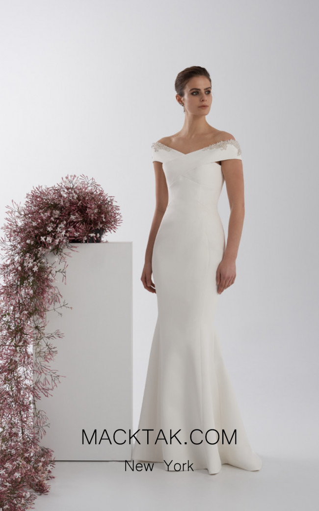 Rachel Gilbert RG60561 Ivory Front Evening Dress