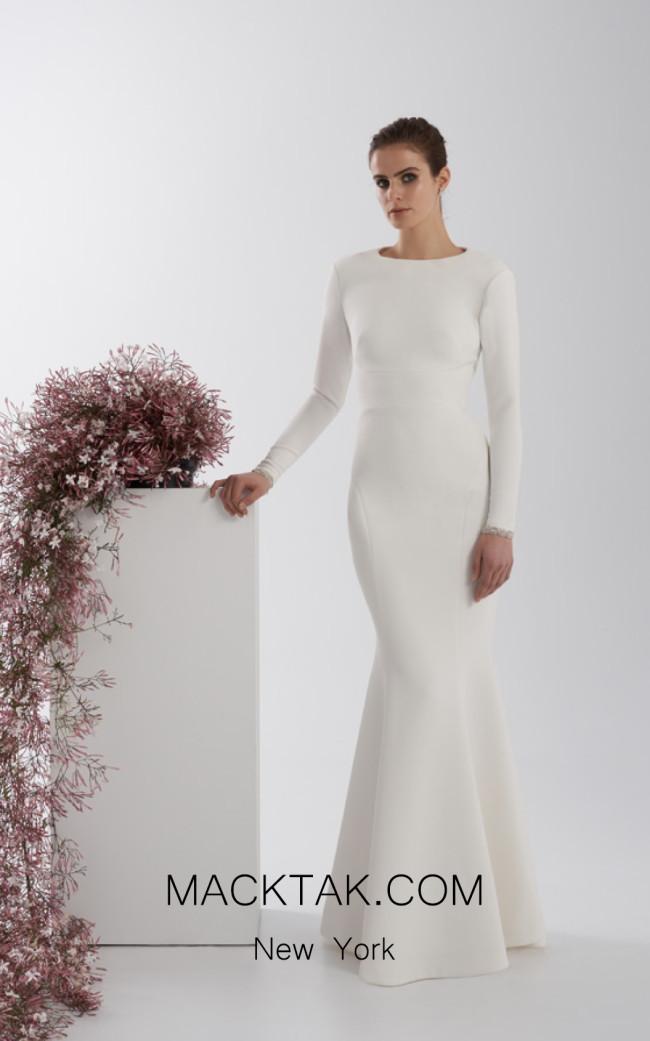 Rachel Gilbert RG60566 Ivory Front Evening Dress