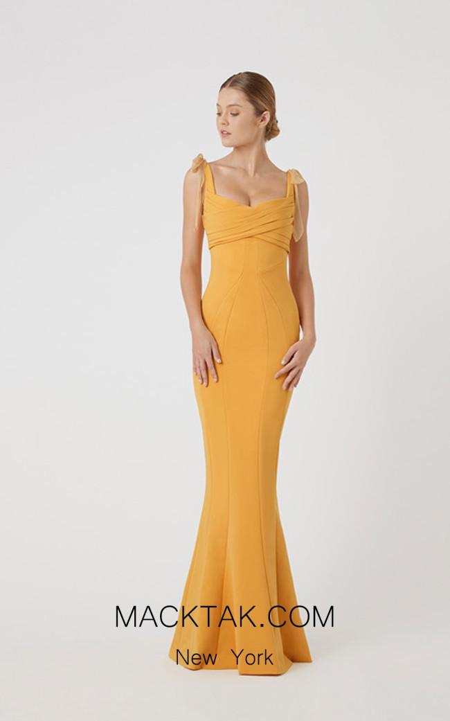 Rachel Gilbert RG60589 Mustard Front Evening Dress