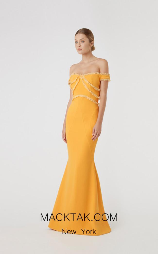Rachel Gilbert RG60593 Mustard Front Evening Dress