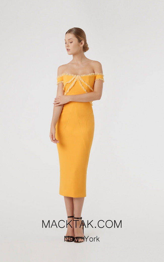 Rachel Gilbert RG60594 Mustard Front Evening Dress