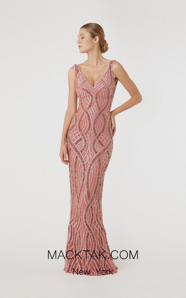 Rachel Gilbert RG60609 Salmon Front Evening Dress