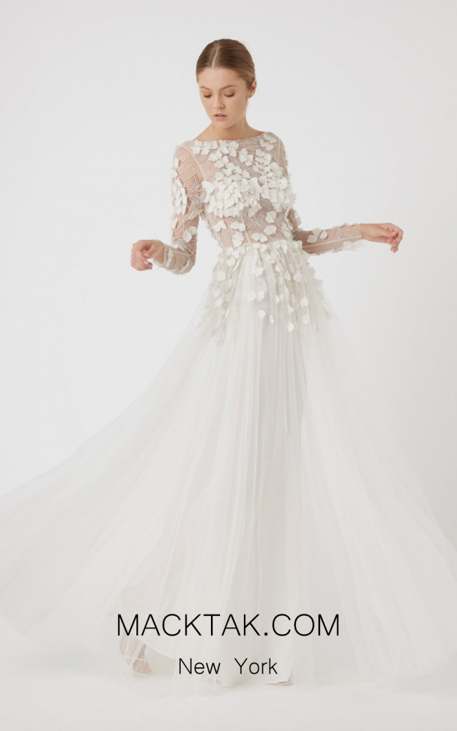 Rachel Gilbert RG60623SS Ivory Front Evening Dress