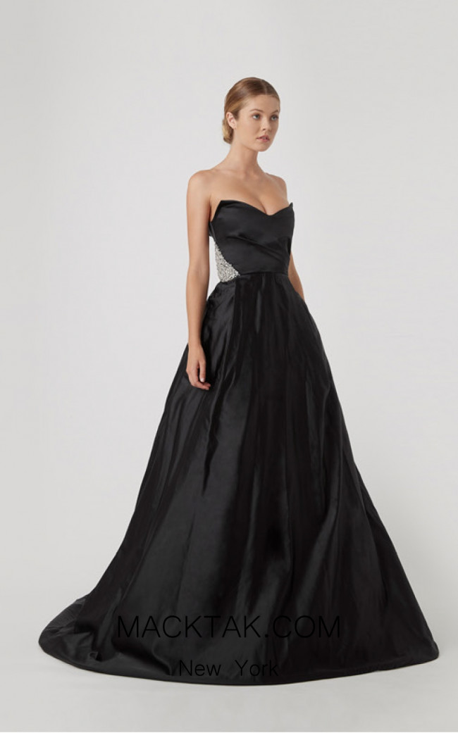 Rachel Gilbert RG60629 Black Front Evening Dress