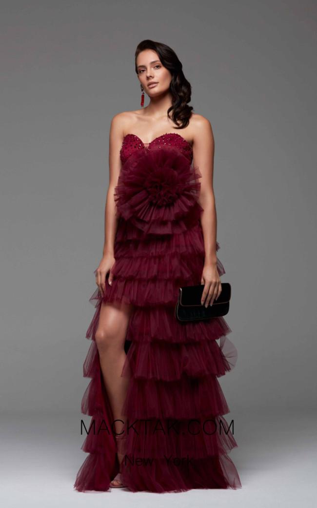 Rengin 5465 Raspberry Front Dress