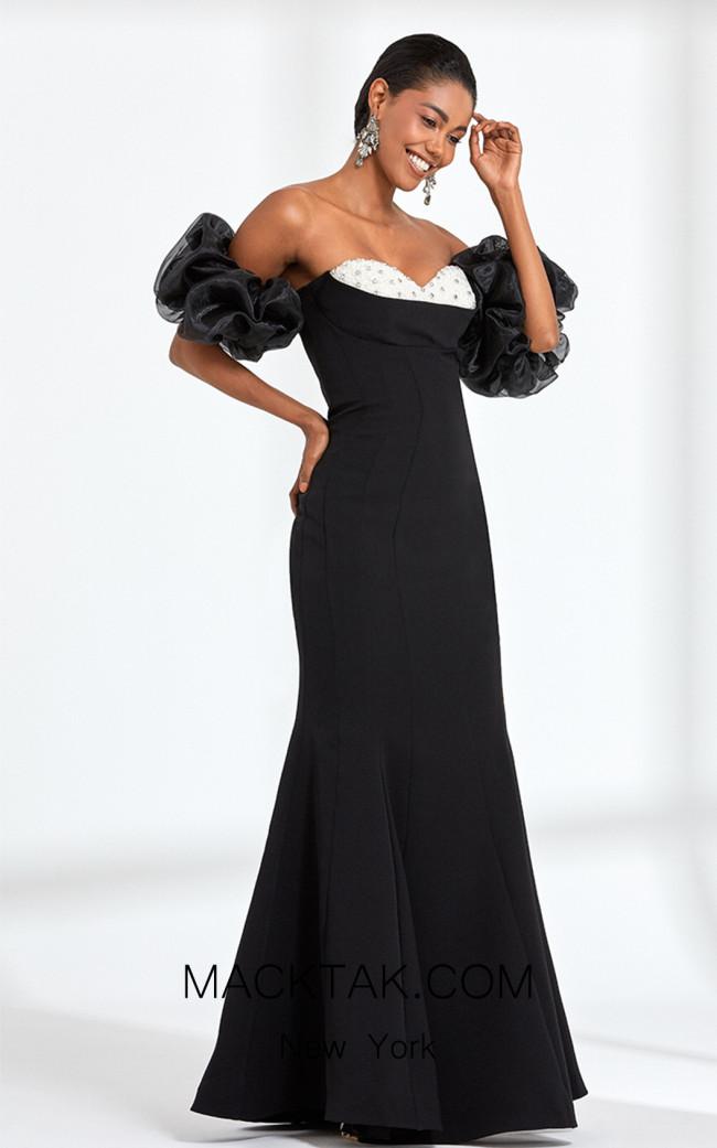Rengin 5579 Black White Front Dress
