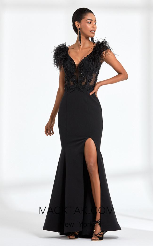 Rengin 5583 Black Front Dress