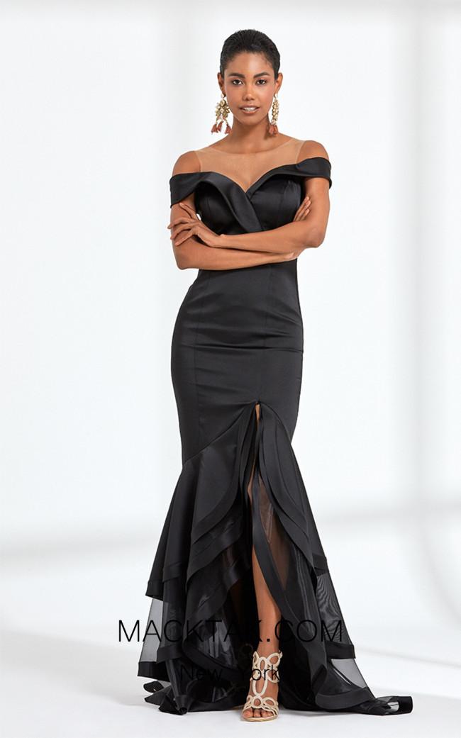 Rengin 5590 Black Front Dress