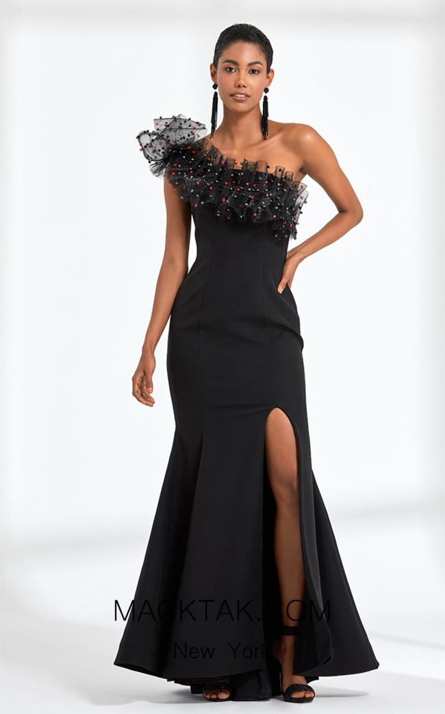 Rengin 5592 Black Front Dress