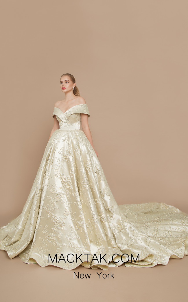 Ricca Sposa Marchesa Gold Ivory Front Dress