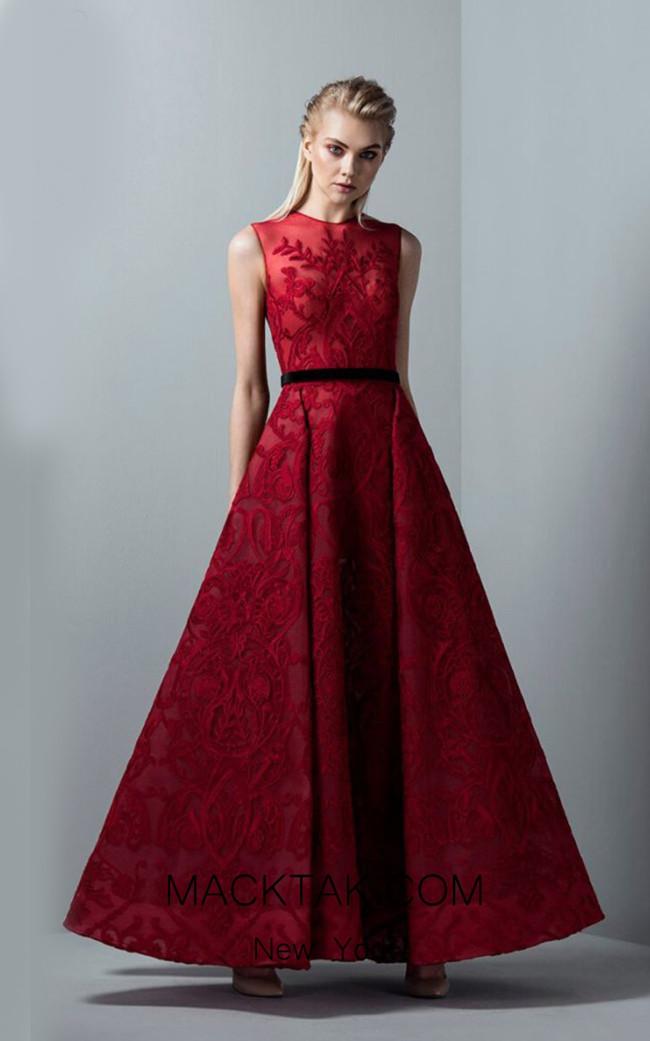 Saiid Kobeisy RE3384 Poppy Red Front Evening Dress