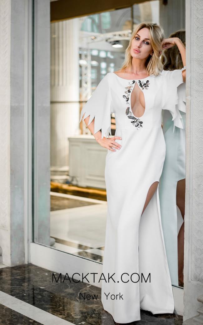 Sana Sabini 9266 White Front Evening Dress