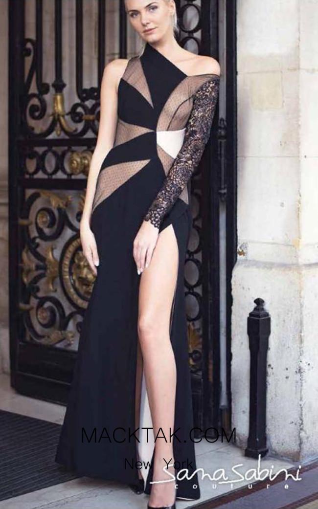 Sana Sabini 9269 Black Front Evening Dress