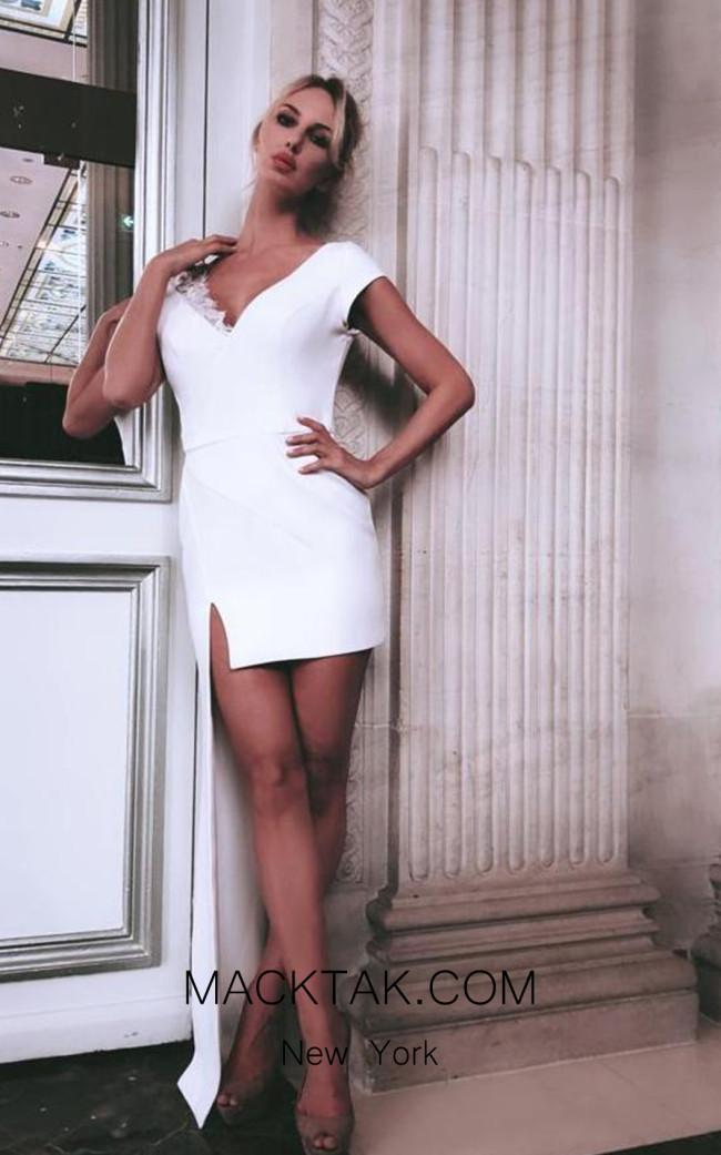 Sana Sabini 9271 White Front Evening Dress