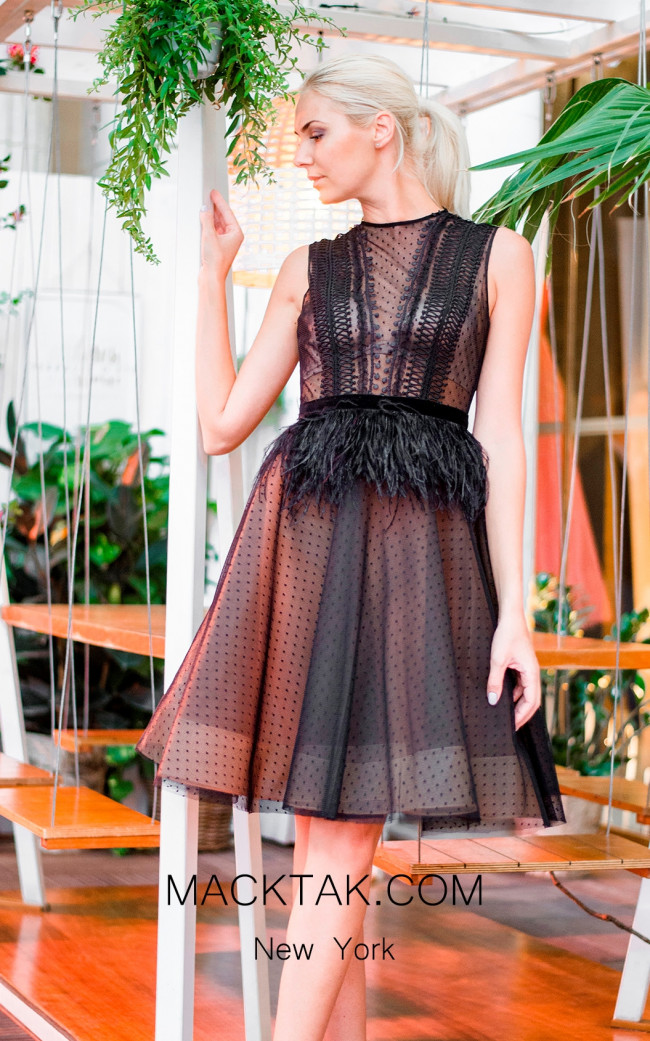 Sana Sabini 9272 Black Nude Front Evening Dress