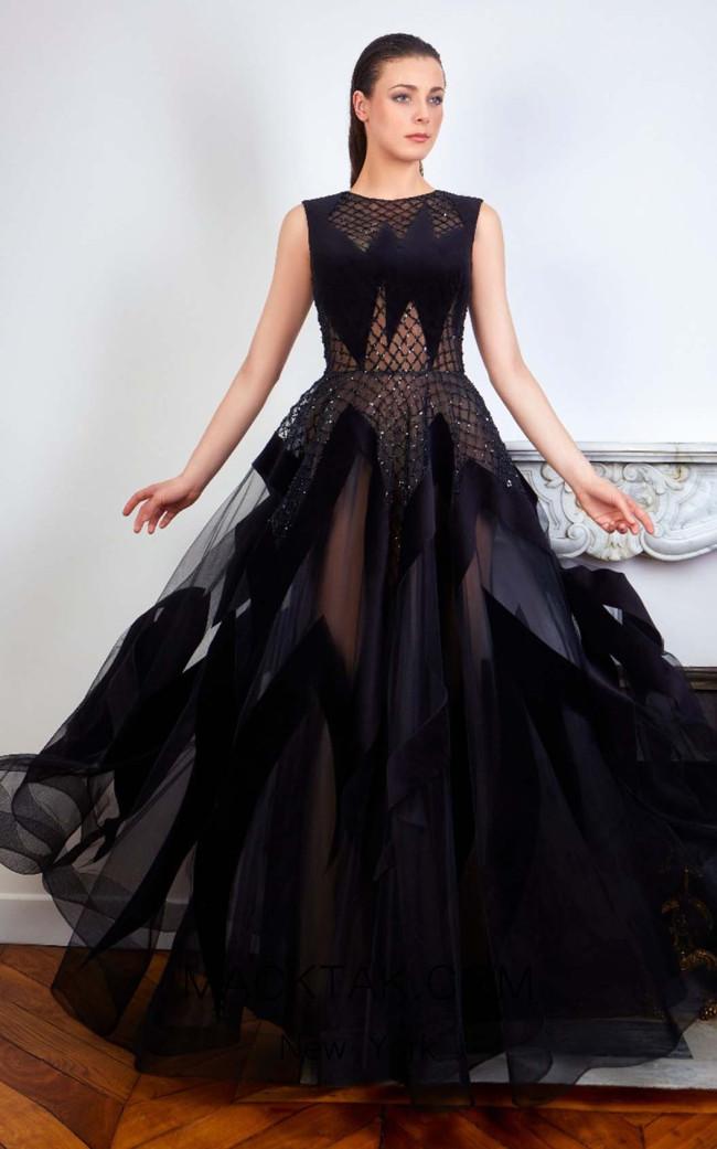 Sana Sabini 9285 Black Nude Front Evening Dress