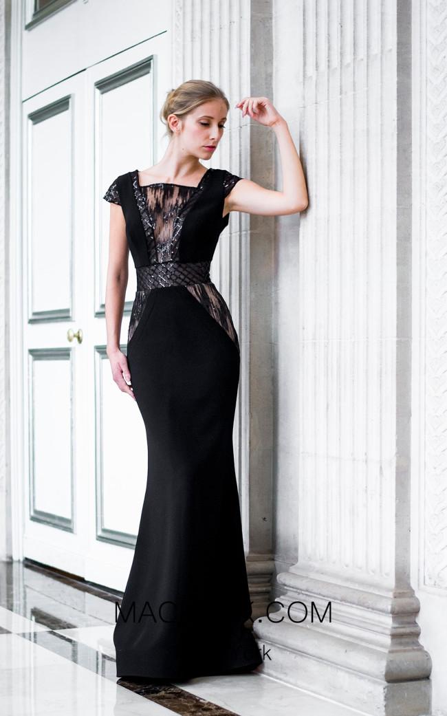 Sana Sabini 9292 Black Front Evening Dress