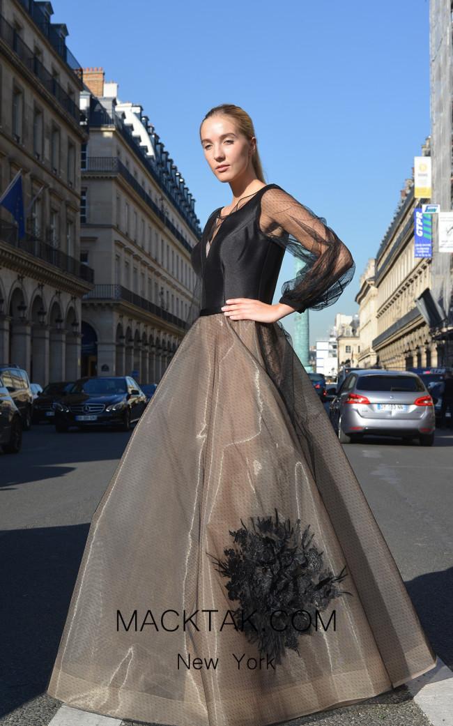Sana Sabini 9293 Black Nude Front Evening Dress