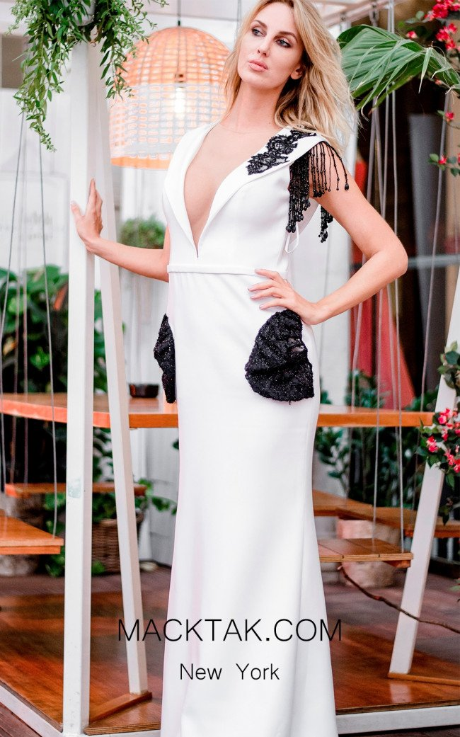 Sana Sabini 9296 Black White Front Evening Dress