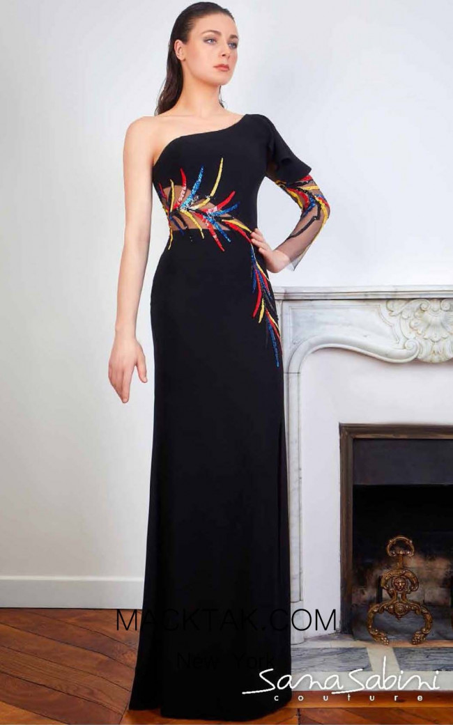 Sana Sabini 9315 Black Front Evening Dress